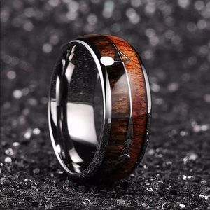 New 8mm Tungsten Koa Wood Arrows Inlay Band Ring